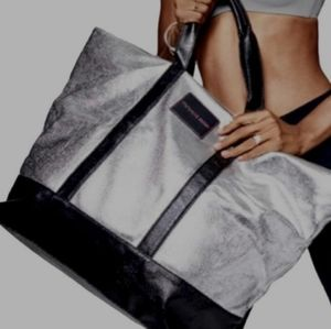 BNWT women's Victoria's Secret Silver/black tote